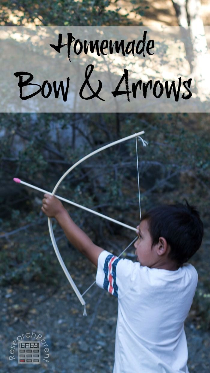 Homemade Bow and Arrows. Quick, easy, and inexpensive to make. Great DIY gift for kids. via @researchparent