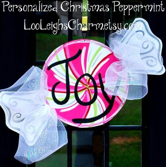 Christmas Door Hanger, Peppermint, Christmas Decor, Christmas Door Hanger, Candy Christmas. $45.00, via Etsy.