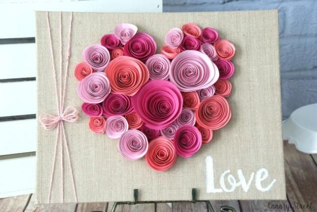 9 Paper Flower Projects that Will Make You Smile!: Heart Shaped Rolled Paper Flower Wall Decor