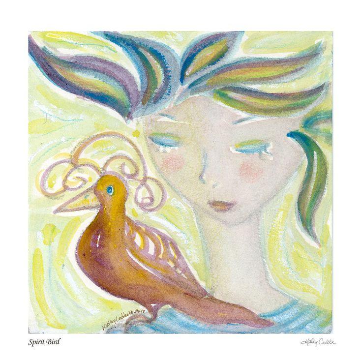 Excited to share the latest addition to my #etsy shop: Spirit Bird Signed Print + Poem http://etsy.me/2jMO747 #art #printmaking #orange #birthday #mothersday #green #spiritanimal #totemanimal #spiritualart