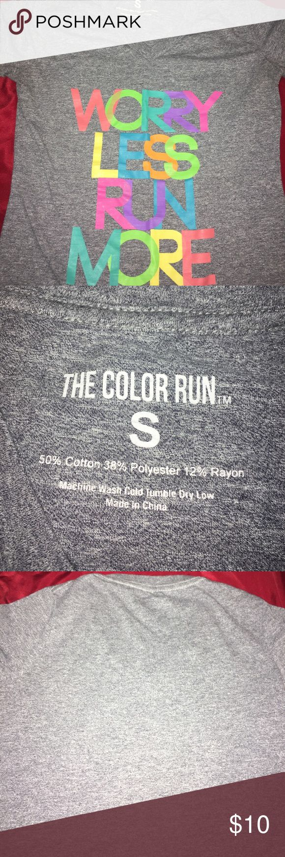 Color Run Shirt Soft cotton tee from a color run. Worn a few times but still good as new. This shirt is also a more slimming kind of women's shirt not like a traditional Tshirt. Tops Tees - Short Sleeve