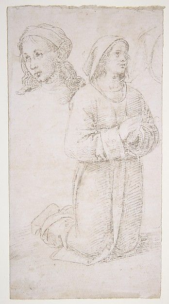 Perugino (Pietro di Cristoforo Vannucci) | Study of a Kneeling Youth and of the Head of Another | The Metropolitan Museum of Art