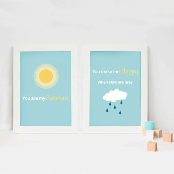 You are my sunshine print. Brighten up your child's room with this lovely print based on lines from a children's nursery rhyme. #nursery #nurseryrhyme #nurserydecor #youaremysunshine #childrensart #print #gift #nurseryart #children #babyshower