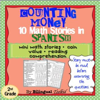 "This Math unit in Spanish centered in determining the value of a collection of coins will challenge students. This unit also exposes the student to reading. The word problems are ""mini stories"" written to help the student enhance their reading skills while working with math problems."