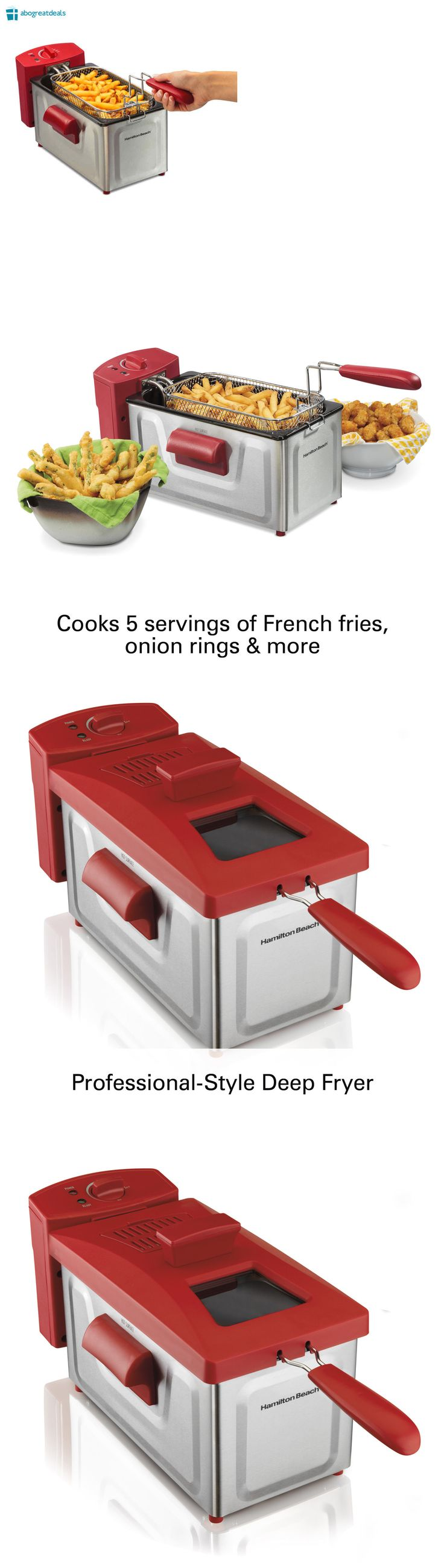 Deep Fryers 20674: 2 Liter Deep Fryer Basket Electric Cooker Kitchen Countertop Stainless Steel Red -> BUY IT NOW ONLY: $52.92 on eBay!