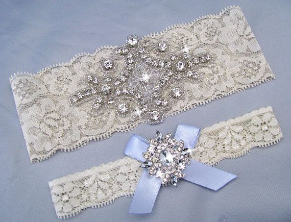 Wedding Garter Ivory Off White Bridal Set Something Blue Lace Crystal Rhinestone Keepsake Toss Garters