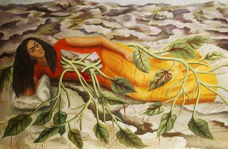 "This is the 1943 painting titled ""Roots"" by Frida Kahlo. Frida Kahlo's life began and ended in Mexico City. Her work has been celebrated in Mexico as emblematic of national and indigenous tradition, and by feminists for its uncompromising depiction of the female experience and form."