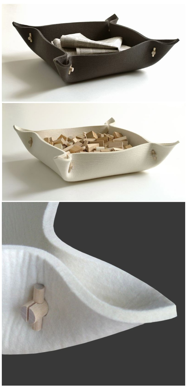 Vati felt bowl 60 x 60 cm, wool felt & birch wood