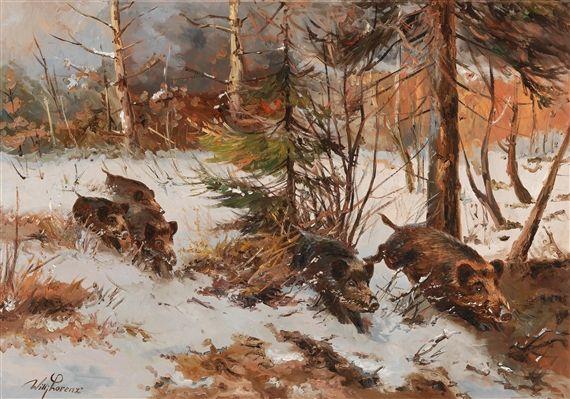 Artwork by Wilhelm Lorenz, Wildschweinrotte am Waldrand, Made of oil on canvas