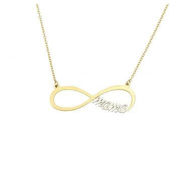 Ιδιαίτερο γυναικείο κολιέ για μαμάδες χρυσό και λευκόχρυσο Κ9 με το mama περασμένο μέσα σε ένα άπειρο | Ιδέες για δώρα σε μαμά ΤΣΑΛΔΑΡΗΣ στο Χαλάνδρι #απειρο #μαμα #χρυσο #κολιε