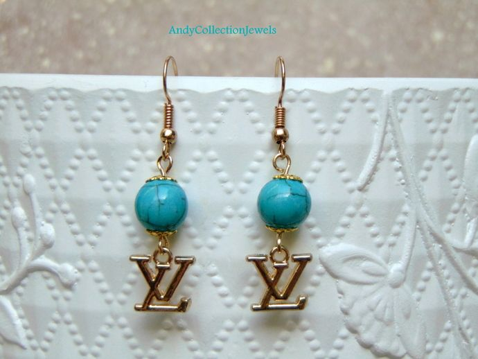 Replica chanel dangle earrings Turquoise dangle earrings Summer dangle earrings Mother day gift Daughter gift Replica louis vuitton earrings by AndyCollectionJewels, $11.00 EUR