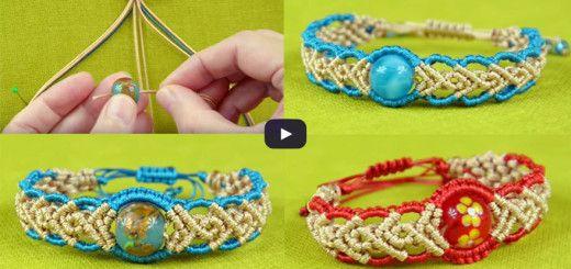 Wavy Herringbone Bracelet in two colors with a bead