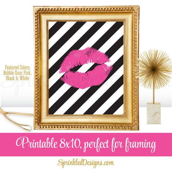Kiss Lips Art Print - Printable 8x10 Sign, Makeup Vanity Bedroom Dorm Room Decor, Bubble Gum Pink Black White Stripes - INSTANT DOWNLOAD by SprinkledDesigns.com