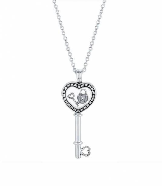 Colgante Locket en plata de ley Llave de mi Corazón Pequeño 396581CZ-80