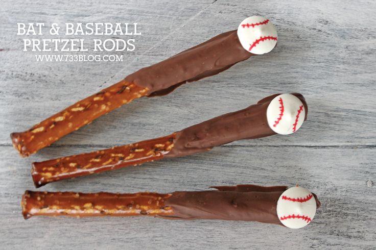 Bat and Baseball Pretzel Treats