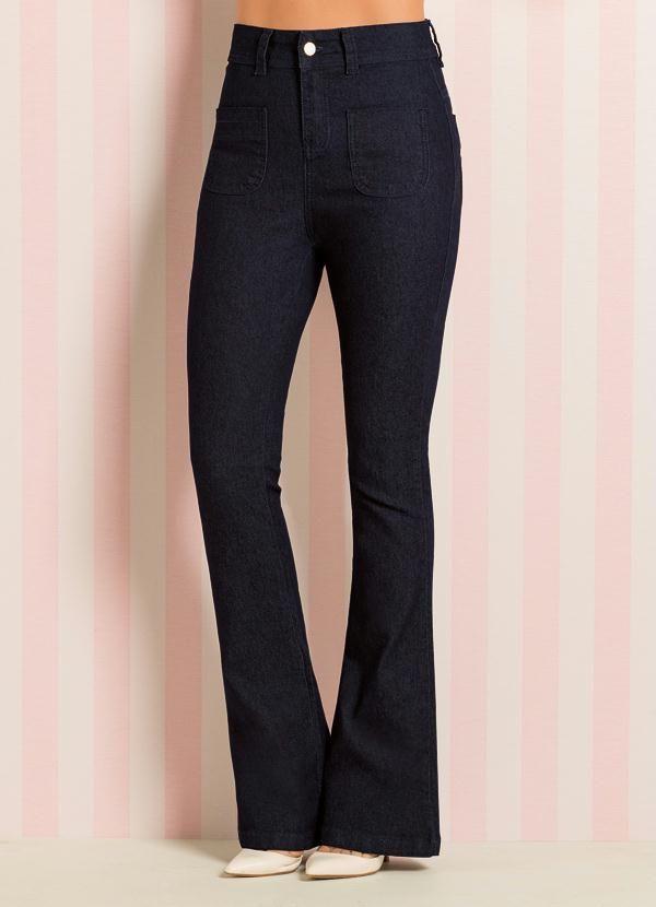 c373695ab Calça Flare Jeans Escuro Quintess em 2019 | Calças | Jeans, Flare ...