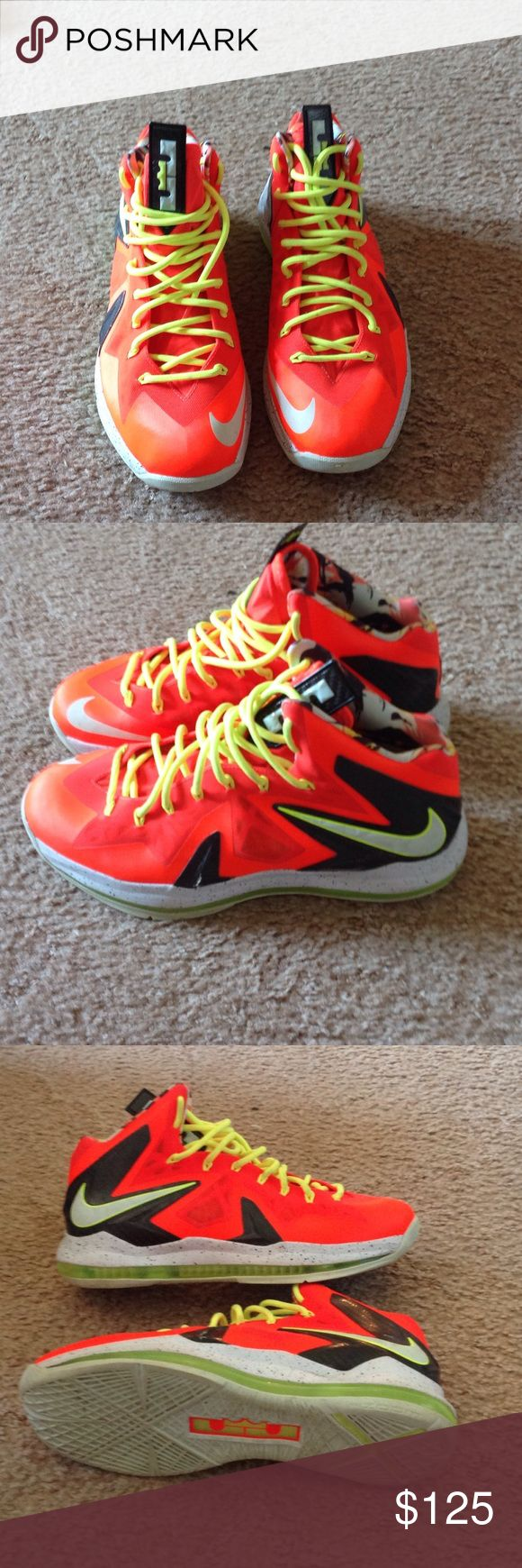 LeBron 10 x p.s. Elite Nike size 12 Like new orange LeBron sneakers from Nike, only worn a few times. Nike Shoes Sneakers