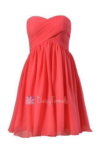 Adorable Cherry Chiffon Dress for Beach Wedding Short Sweetheart Bridesmaid Dress (BM256)