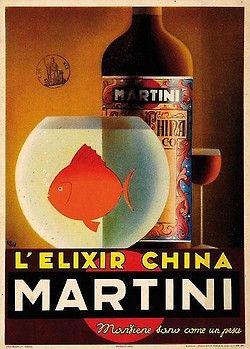 Carlo Fisanotti, Elisir China Martini, 1936. BOTTIGLIE BICCHIERI ALCOLICI PESCI MARTINI CHINA ELISIR