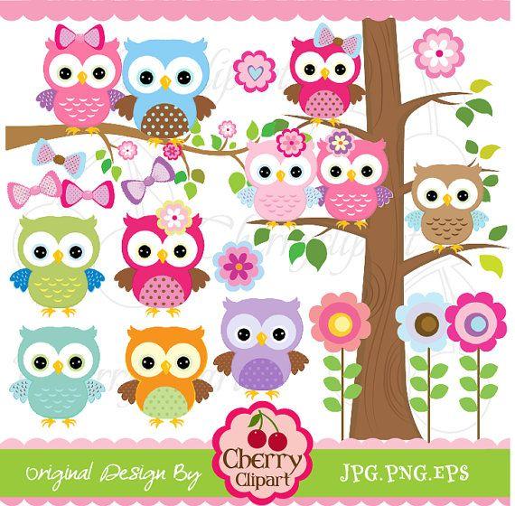 Cute #Owls Digital Clipart Elements #buhos #diseño #dibujos