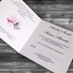 Zaproszenia ślubne z ptaszkami proste - Zakochane ptaszki 1