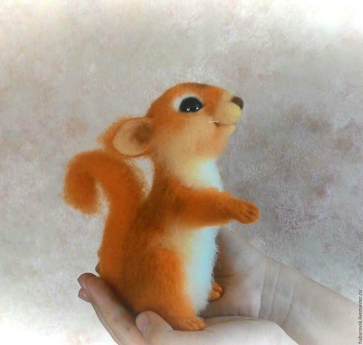 Купить Бельчонок Тимошка. Интерьерная игрушка из шерсти. - рыжий, белка игрушка, белка, интерьерная игрушка