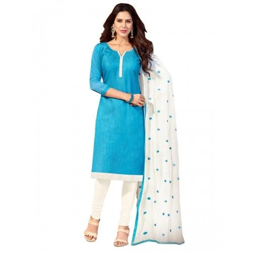 Shop Online Chanderi Cotton Plain Blue Unstitched Churidar Suit - Fd5005 @ Rs.699 at Indiarush. Best Discount ✓ Cash on Delivery ✓ Free Shipping✦ ✓7 Days Return ✓ All India Shipping.