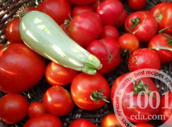 Маринованные кабачки на зиму с помидорами и огурцами