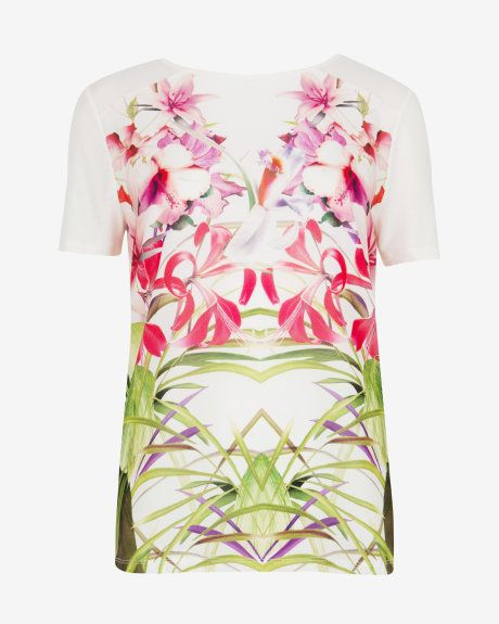 Mirrored tropics T-shirt - Cream | Tops & T-shirts | Ted Baker UK