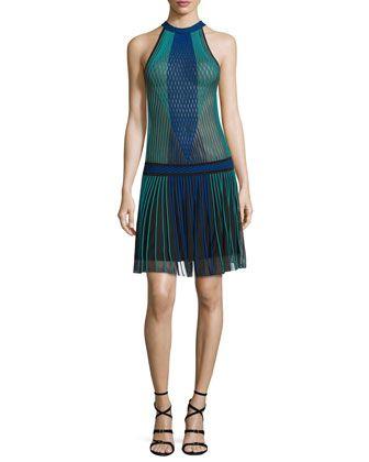 Halter-Neck Pleated-Skirt Dress, Black/Blue/Green by Roberto Cavalli at Neiman Marcus.