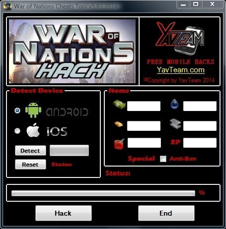 War of Nations Cheats Tool v5.83 2014 for Android/iOS. Working without problems. Download here! The Best Cheats only from YavTeam. http://www.yavteam.com/war-of-nations-cheats-tool-v5-83-2014/