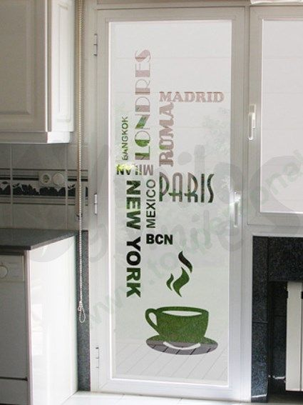 Vinil decorativo esmerilado con texto y taza de café para puerta o ventana de…