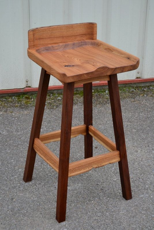 Live Edge Elm and Walnut Bar Stool with by CoreyMorganWoodWorks