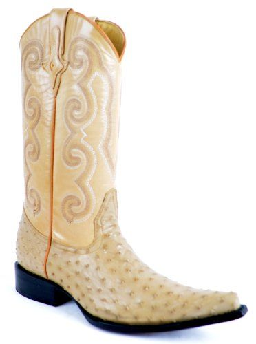 Mens Western Style Ostrich Skin Boot, Pointy Toe, Beige, Size 9 EE US - http://authenticboots.com/mens-western-style-ostrich-skin-boot-pointy-toe-beige-size-9-ee-us/