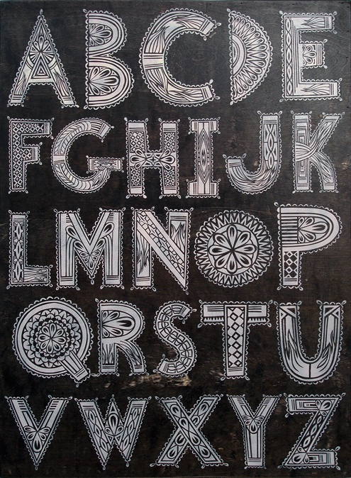 John Tindel designed alphabet. #typography #letters #design   The intricacy of each of these letters is gorgeous. I also love the black background. So decorative and appealing to my eye!