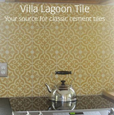 Cement Tile Kitchen Backsplash Franes Clean, Contemporary Stove Top Against  Reproduction Tile Makes For A