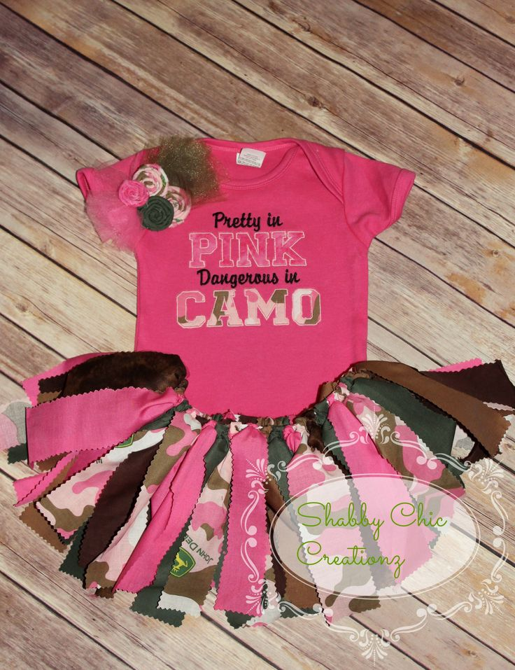 Pretty in Pink, Dangerous in Camo  Want to order??  www.facebook.com/Shabby.Chic.Creationz  https://www.etsy.com/shop/ShabbyChicCreationz