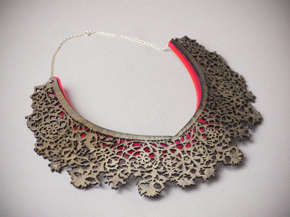 Hendrika Necklace- Laser Cut Wood and Acrylic with Sterling Silver Chain