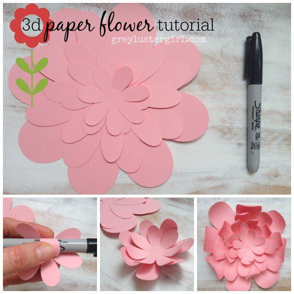 3D Paper Flower Tutorial from Grey Luster Girl #silhoeutte