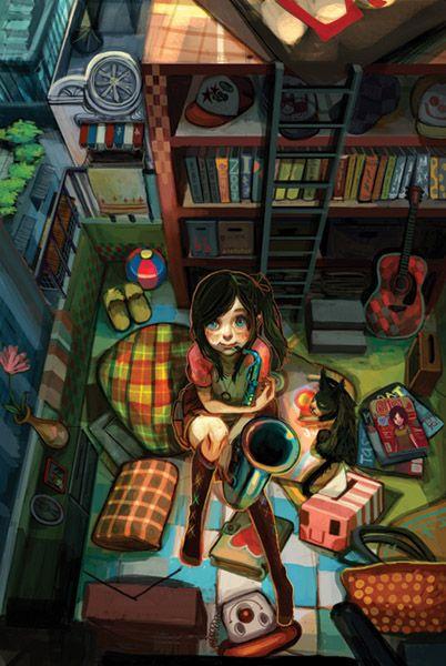 JoysukePhotos Pictureart Graph, Spaces, Art Inspiration, Pictures Art, Joysuk Wong, Favorite Illustration, Illustration Art Drawing, Quartos Cheio, Artworks Illustration