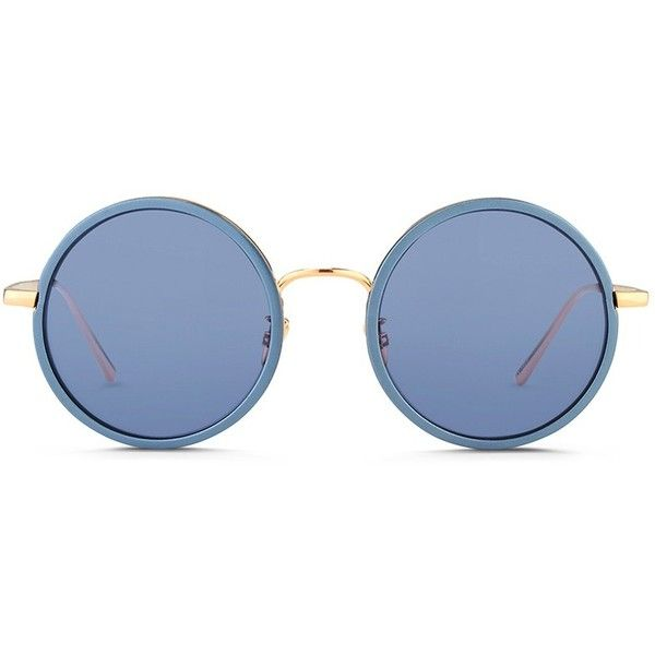 Linda Farrow Aluminum rim round titanium matte mirror sunglasses (59,075 INR) ❤ liked on Polyvore featuring accessories, eyewear, sunglasses, blue, mirrored sunglasses, linda farrow sunglasses, titanium glasses, round rim glasses and round glasses
