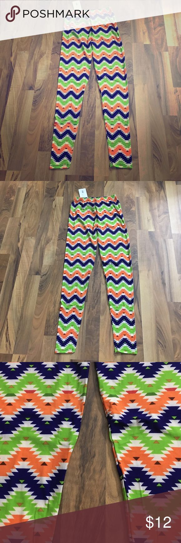 OS Lime Green Chevron Geo Printed Stretch Leggings These leggings feature contrasting colors in an overall bright pattern. These are soft polyester/spandex blended material. Tag reads one size (and they are super stretchy) - I would comfortably say they fit size small thru large. Shes Pants Leggings