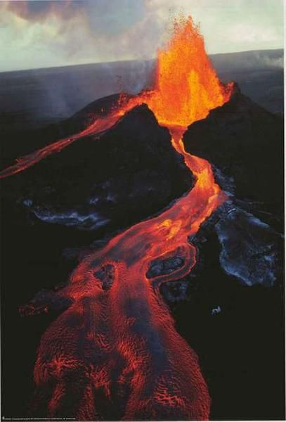 Mauna Loa volcano covered in lava during an episode of intense eruption activity.