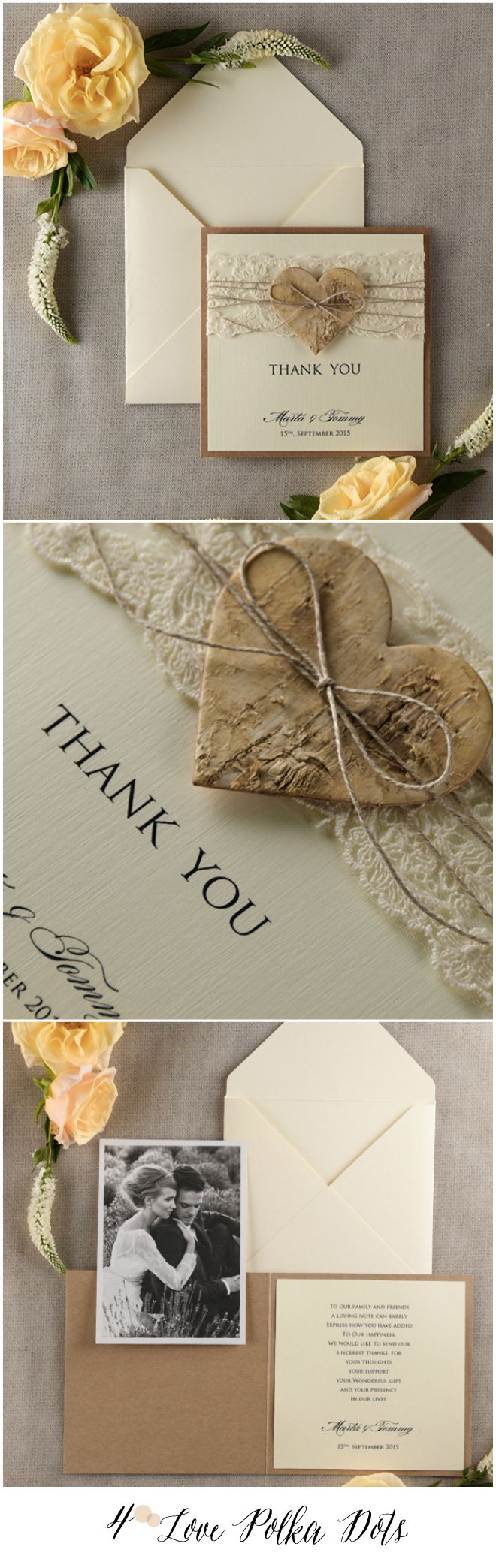 personalized wedding thank you notes%0A Rustic Wedding Thank You card with your photo    weddingideas  wedding   thankyou