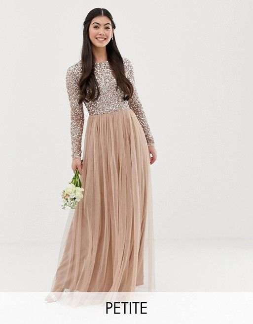 db852790f05e Maya Petite Bridesmaid long sleeve maxi tulle dress with tonal delicate  sequins in taupe blush   ASOS