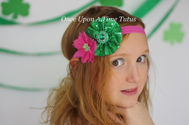 Bright Pink Shamrock Flower Headband - St. Saint Patricks Day Hairbow - 3 Leaf Clover Hair Bow - Emerald Kelly Green Sparkle Accessories by OnceUponATimeTuTus on Etsy
