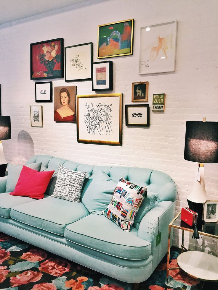 Living Room: gallery walls and bright colors