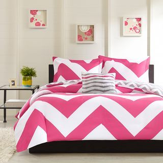 @Overstock.com - Mizone Virgo 4-piece Comforter Set - The Virgo Comforter Collection can update the look and feel of a bedroom instantly. A bright pink and white chevron design on one side and a scaled-down grey and white chevron reverse catches the eye instantly.  http://www.overstock.com/Bedding-Bath/Mizone-Virgo-4-piece-Comforter-Set/8437458/product.html?CID=214117 $49.99