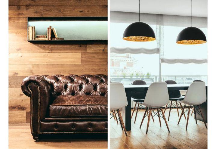 Appartamento con vista su Barcellona, con legno ed elementi di design.