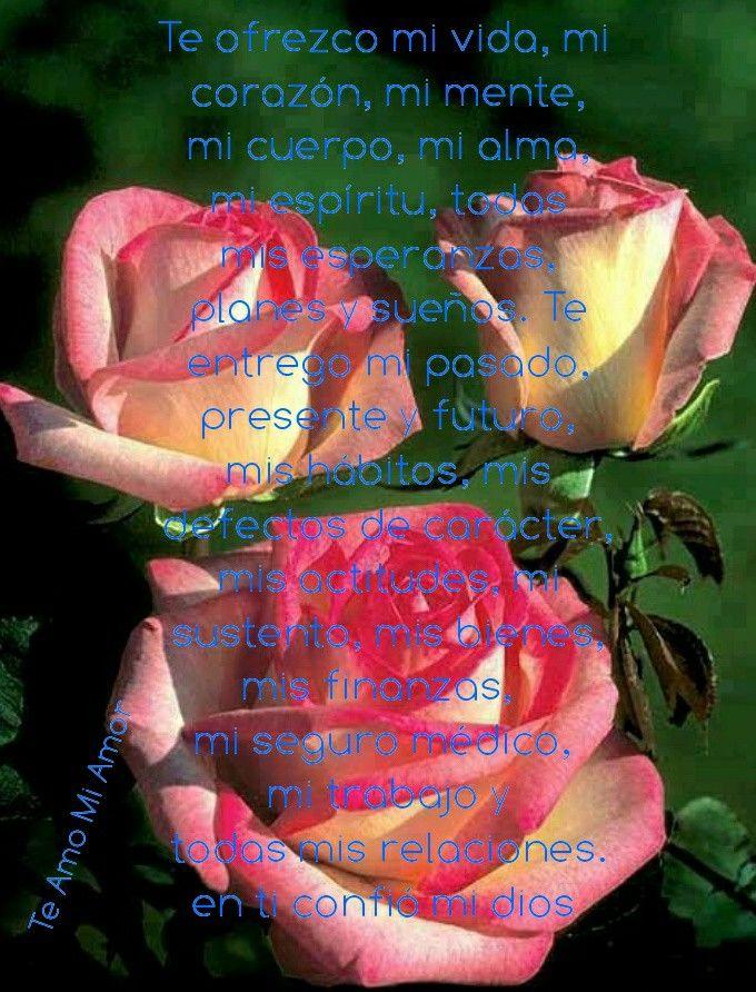 Te ofrezco mi vida, mi  corazón, mi mente,  mi cuerpo, mi alma,  mi espíritu, todas  mis esperanzas,  planes y sueños. Te  entrego mi pasado,  presente y futuro,  mis hábitos, mis  defectos de carácter,  mis actitudes, mi  sustento, mis bienes, mis finanzas,  mi seguro médico,  mi trabajo y  todas mis relaciones. en ti confió mi dios